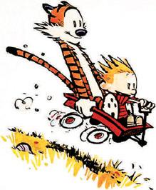 Calvin   hobbes wagon