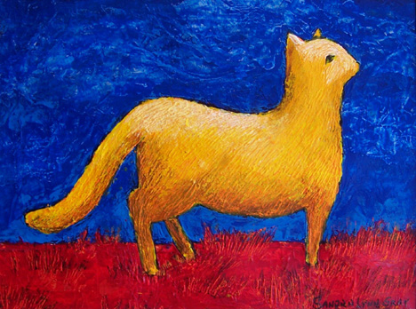 Yellow cat in red grass 65