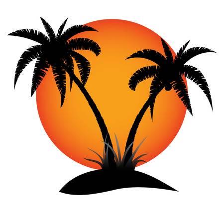 Sunset palm trees clip art 10
