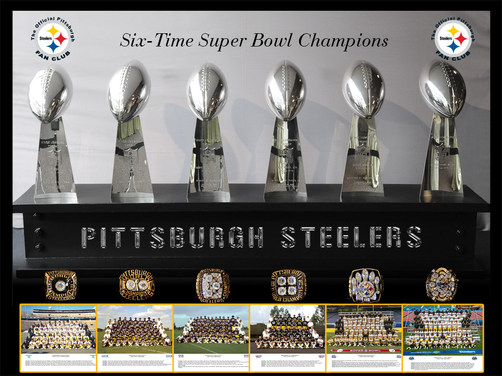 2016 steelers wallpaper six superbowls rings trophys