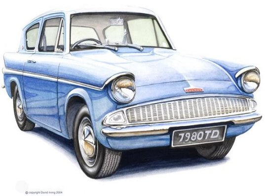 Ford anglia 105e blue