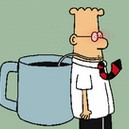 Dilbert coffee cup laser