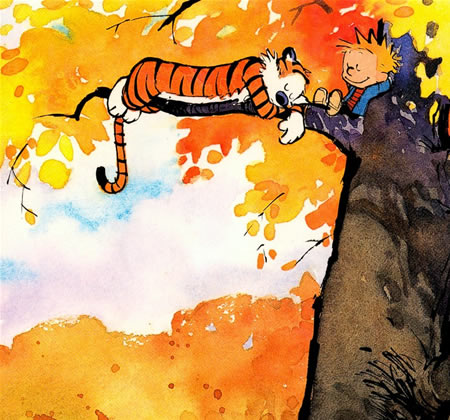 Calvin and hobbes in autumn tree