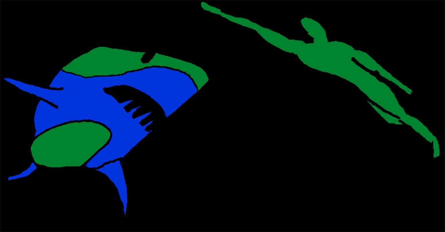 Shark vs swimmer stencil copy