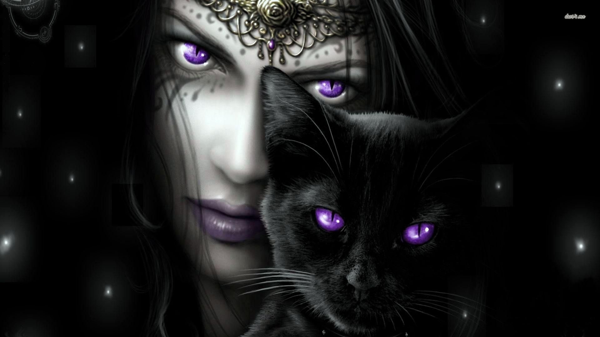 17938 purple eyed woman with her black cat 1920x1080 fantasy wallpaper