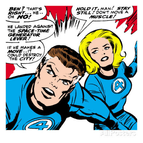 Marvel comics retro fantastic four comic panel mr fantastic invisible woman