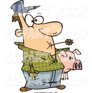 Farmer with pig