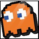 3d pixel ghost orange 128x128