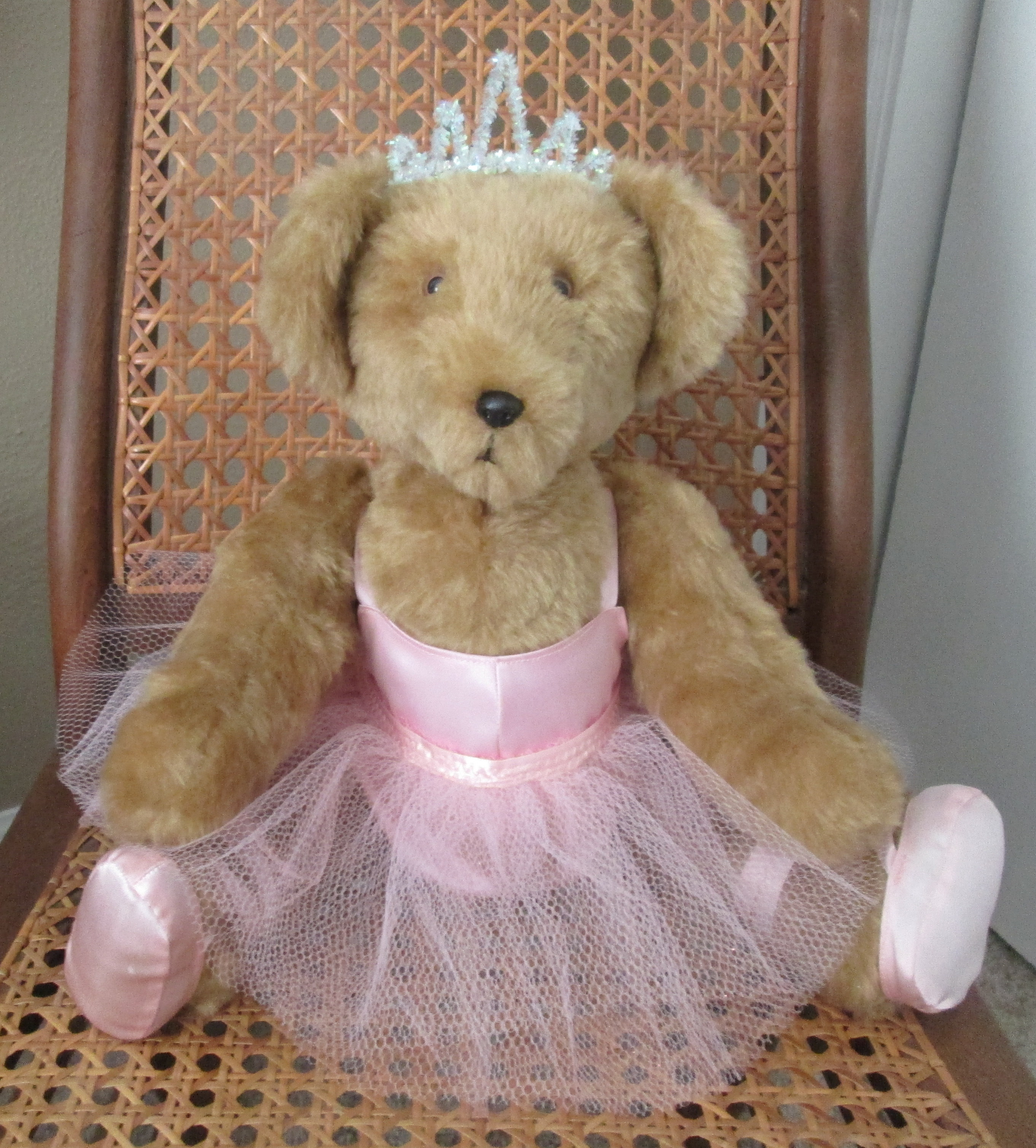 Handmade jointed ballerina teddy bear 20 faux fur  pink satin leotard  net tutu 1