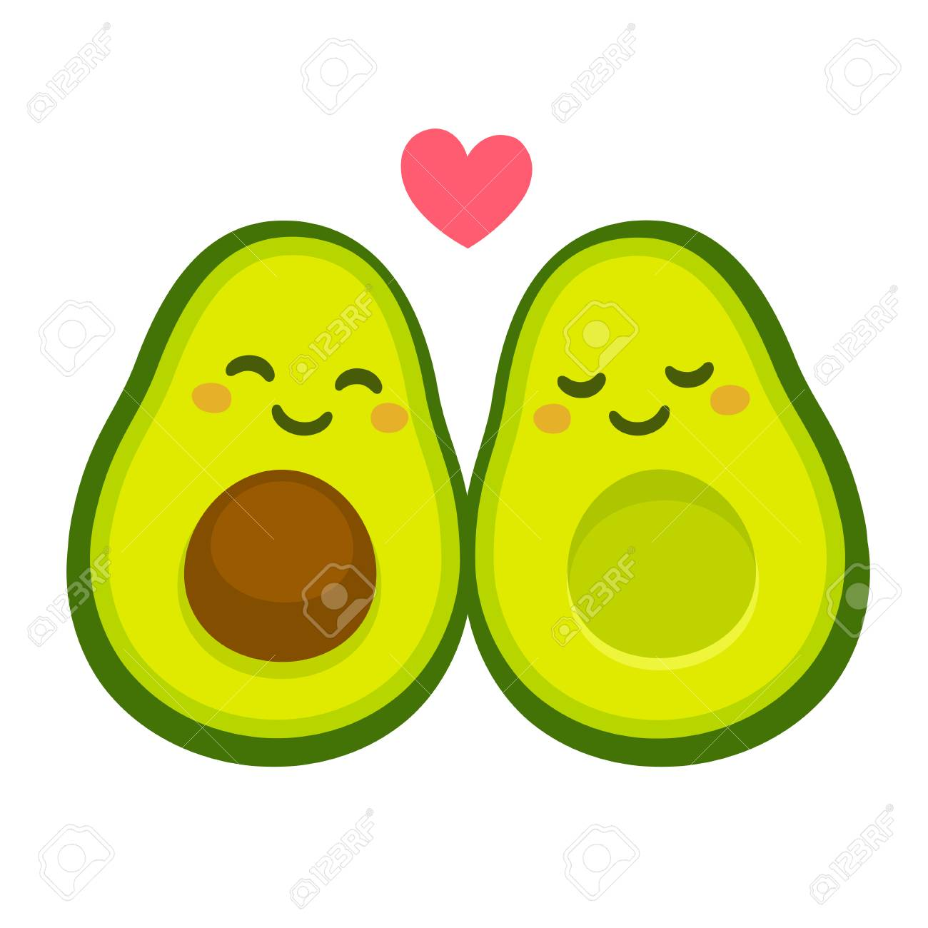 102953800 cute cartoon avocado couple in love avocuddle two avocado halves with heart st valentines day greeti