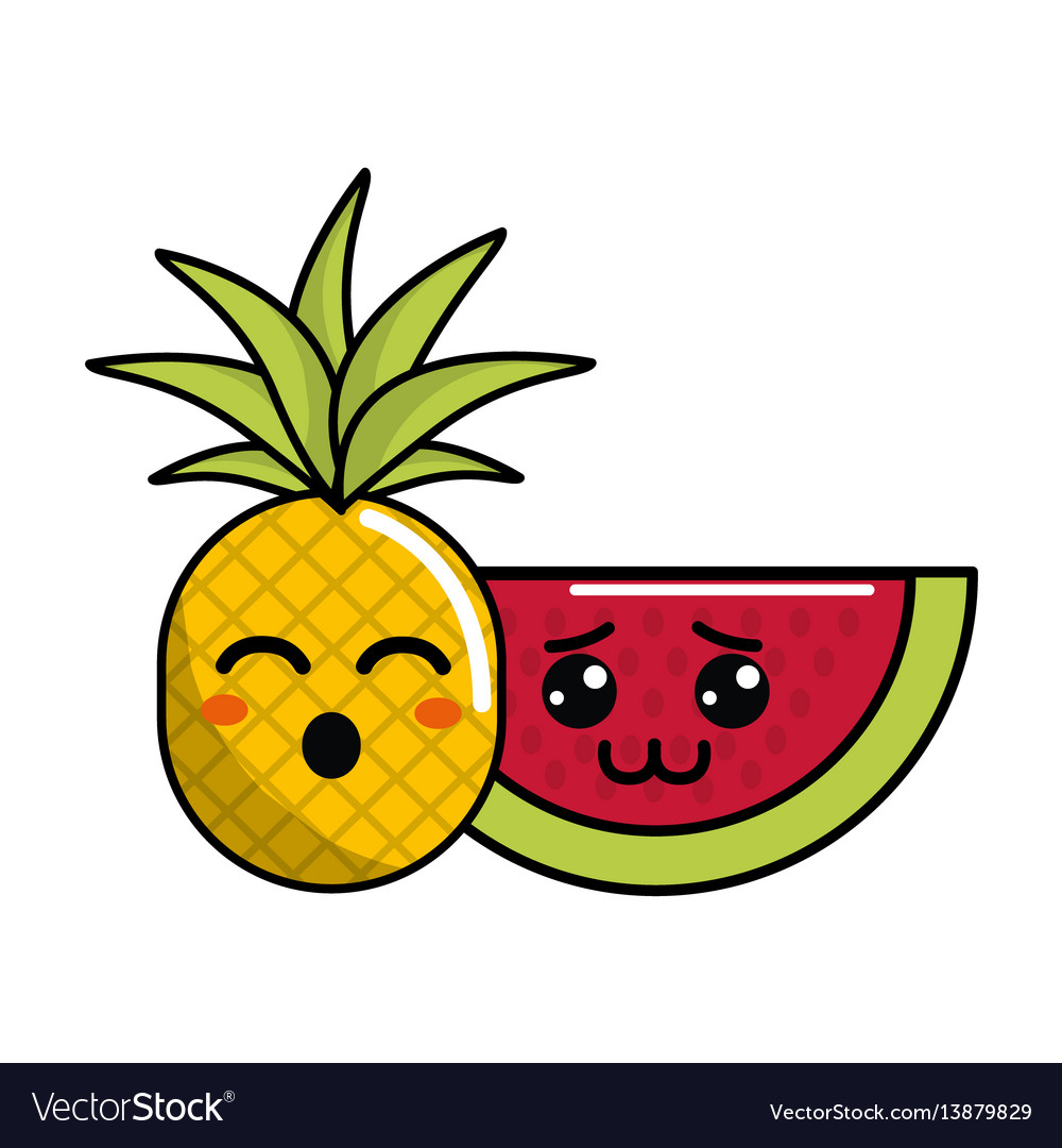 Kawaii funny pineapple and shy watermelon icon vector 13879829