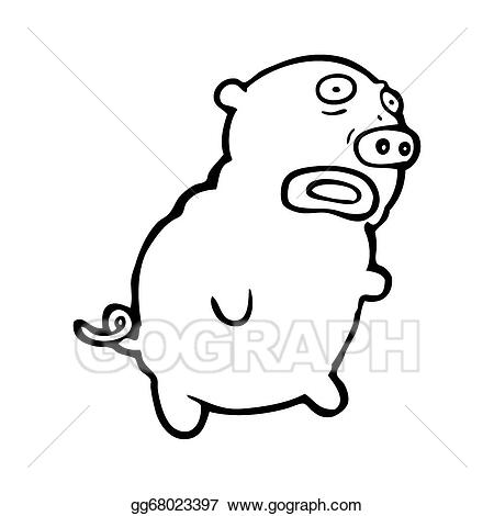 Ugly pig cartoon gg68023397